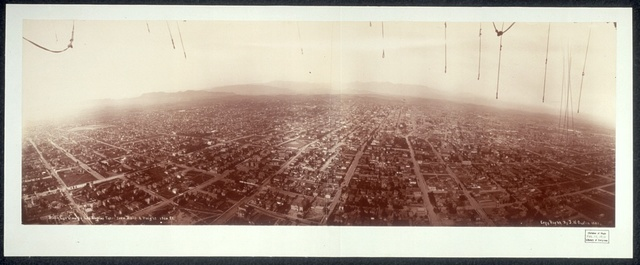Bird's eye view of Los Angeles taken from balloon, height 1500 ft.