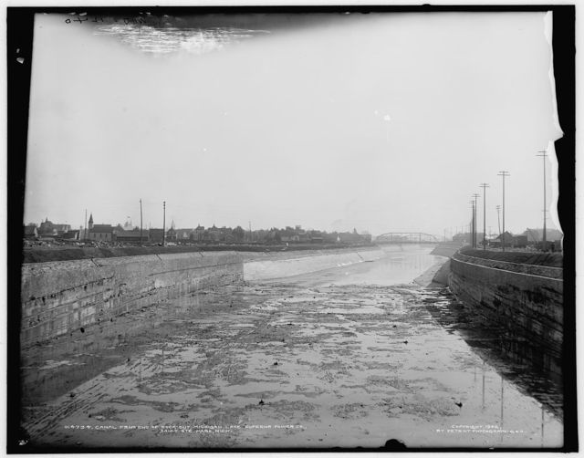 Canal from end of rock cut, Michigan Lake Superior Power Co., Sault Ste. Marie, Mich.