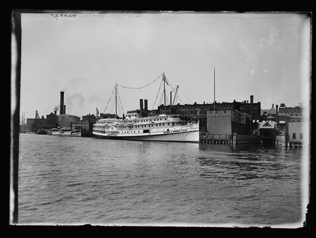 [City of Bangor steamboat and waterfront, possibly Maine]