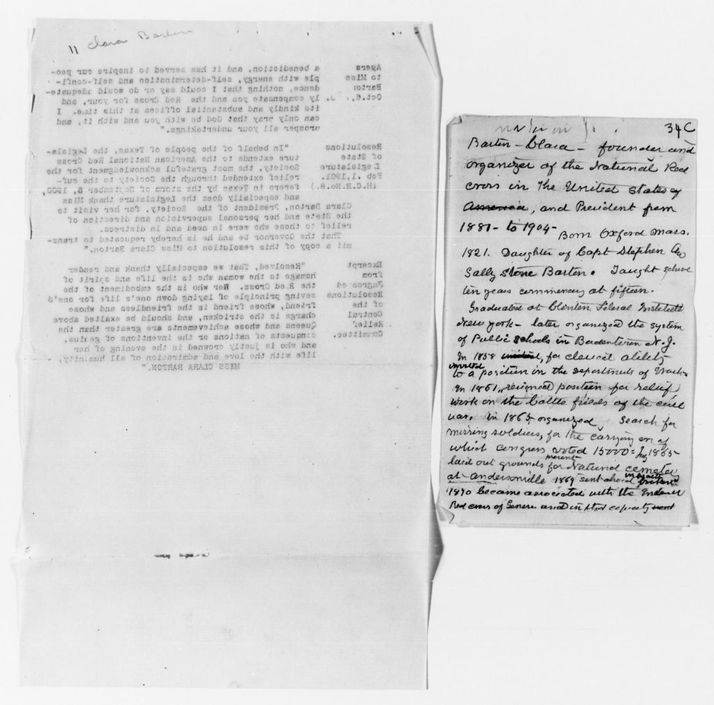 Clara Barton Papers: Miscellany, 1856-1957; Biographical material, 1902-1907, 1941, undated
