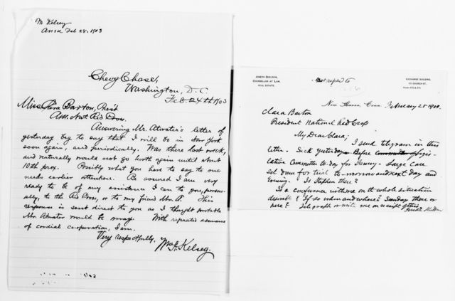 Clara Barton Papers: Red Cross File, 1863-1957; American National Red Cross, 1878-1957; Investigation and resignation; Correspondence; 1902-1903