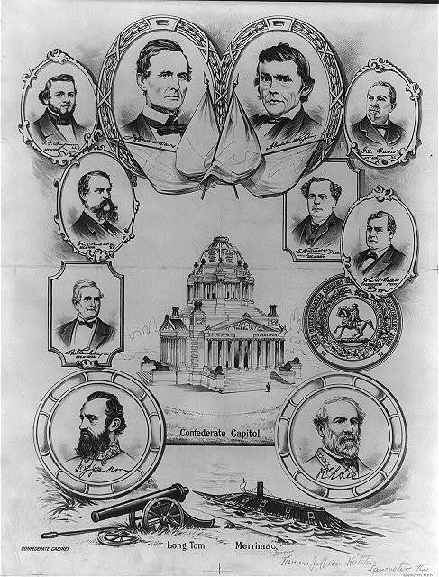 """[""""Confederate capitol"""" surrounded by portraits of confederate governing officials]"""