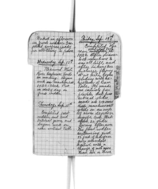 Diaries and Notebooks:  1902, Orville Wright
