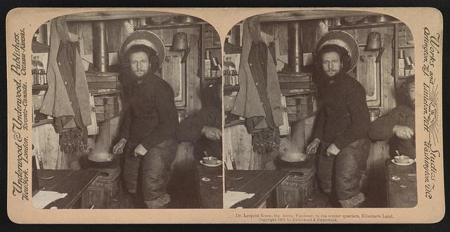 Dr. Leopold Kann, the Arctic explorer, in his winter quarters, Ellesmere Land
