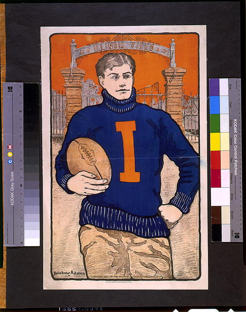 [Football player, with letter I on sweater, holding football, in front of Illinois Field] / Bristow Adams.