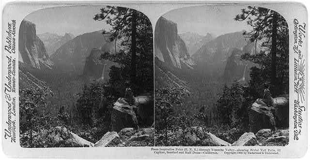 From Inspiration Point (E.N.E.) through Yosemite Valley - showing Bridal Veil Falls, El Capitan, Sentinel and Half Dome - California