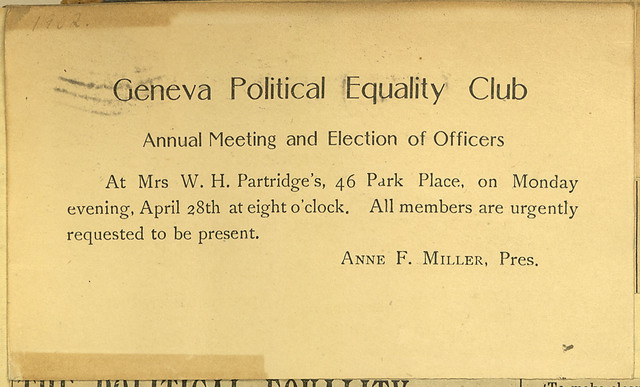 Geneva Political Equality Club; Election of Officers notice