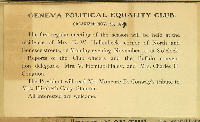 Geneva Political Equality Club meeting announcement