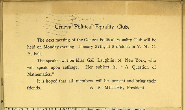 Geneva Political Equality Club meeting invitation for Gail Laughlin address at the Y.M.C.A.