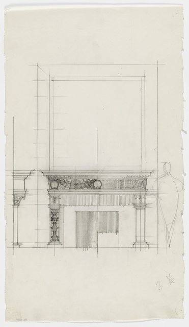 [George Washington Vanderbilt house, 640 Fifth Avenue, New York. Fireplace mantel. Elevation. Sketch]