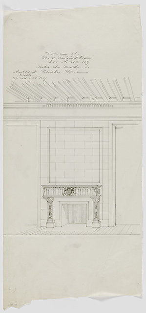 [George Washington Vanderbilt house, 640 Fifth Avenue, New York. Reception room fireplace mantel. Perspective rendering. Sketch]