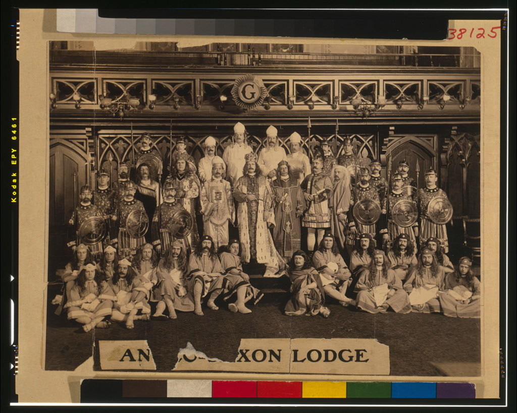 Group portrait of Freemasons of Anglo-Saxon Lodge, seated