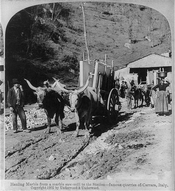 Hauling marble from a marble saw-mill to the station - famous quarries of Carrara, Italy [by ox-drawn cart]