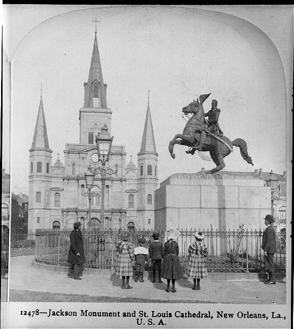 Jackson Monument and St. Louis Cathedral, New Orleans, La.