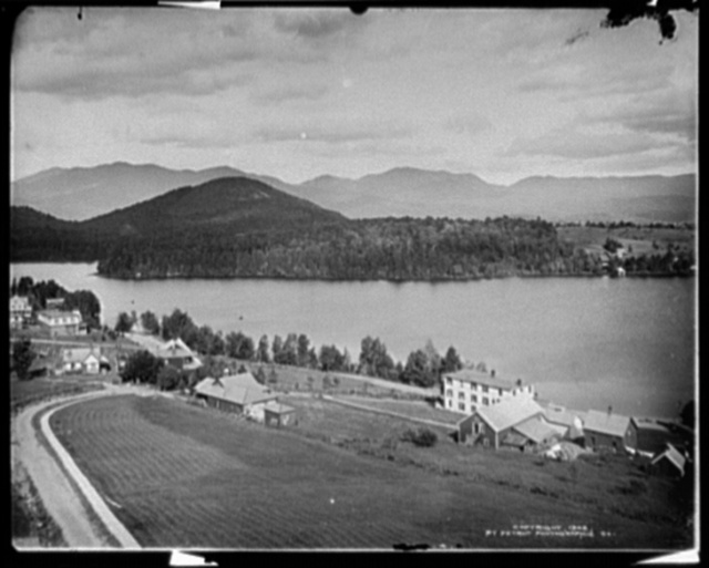 Lake Placid and Mirror Lake from the Steven's House, Adirondack Mountains
