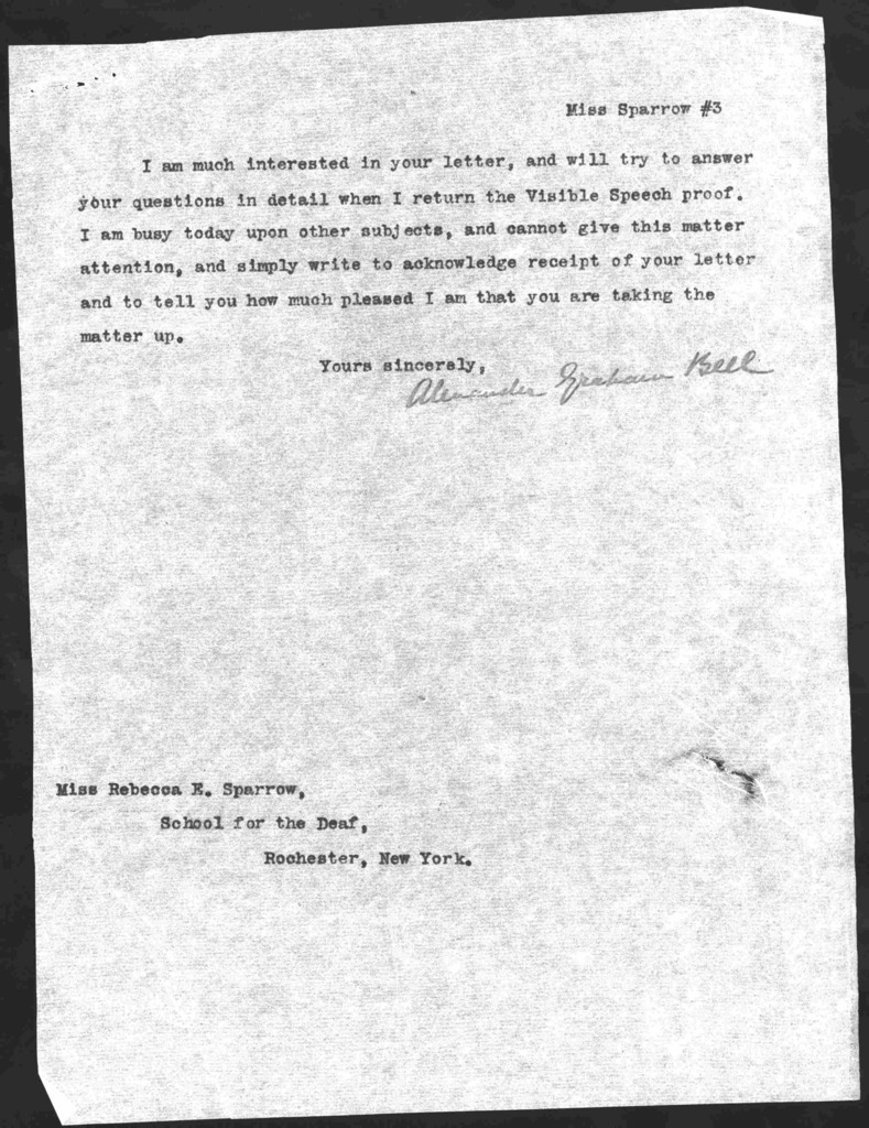 Letter from Alexander Graham Bell to Rebecca E. Sparrow, January 24, 1902