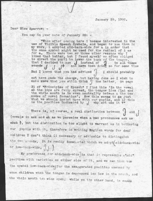 Letter from Alexander Graham Bell to Rebecca E. Sparrow, January 25, 1902