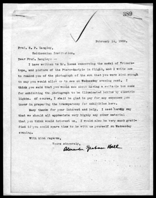 Letter from Alexander Graham Bell to Samuel P. Langley, February 14, 1902