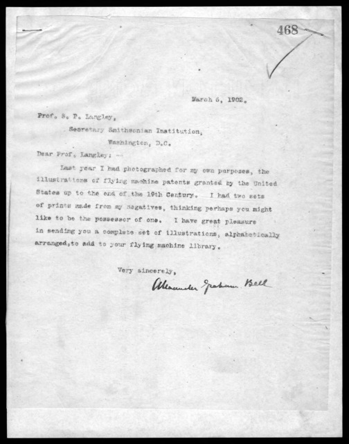 Letter from Alexander Graham Bell to Samuel P. Langley, March 6, 1902