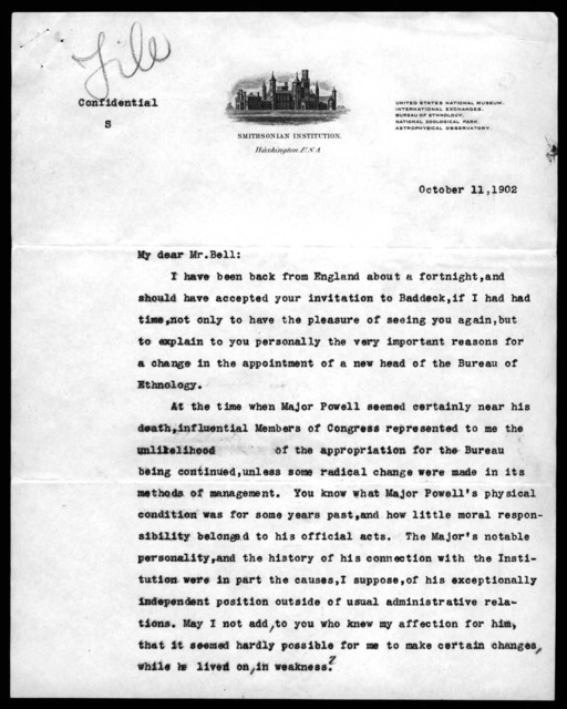 Letter from Samuel P. Langley to Alexander Graham Bell, October 11, 1902