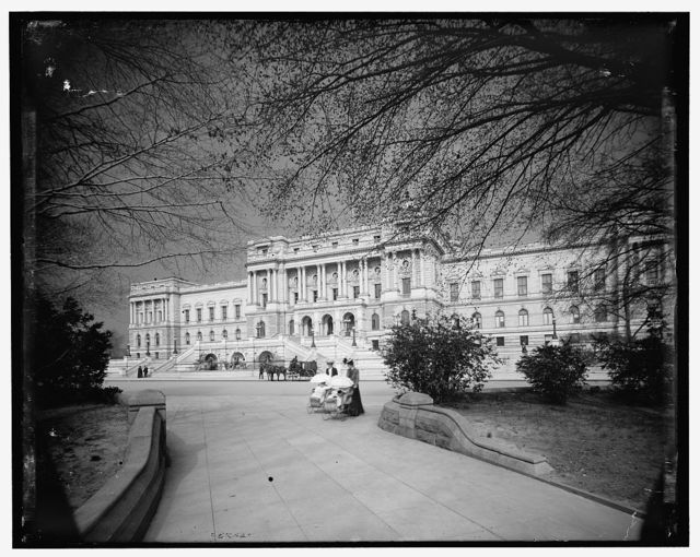 [Library of Congress facade, dark sky, Washington, D.C.]
