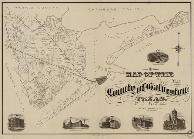 Map of the county of Galveston, Texas.