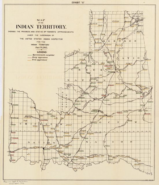 Map of the Indian Territory : showing the progress and status of townsite appraisements, under the supervision of the United States Indian Inspector for the Indian Territory, June 30, 1902.