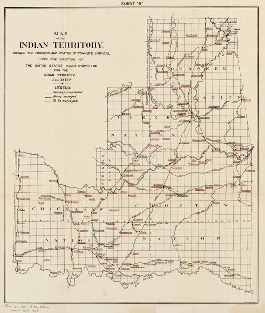Map of the Indian Territory : showing the progress and status of townsite surveys, under the direction of the United States Indian Inspector for the Indian Territory, June 30, 1902.