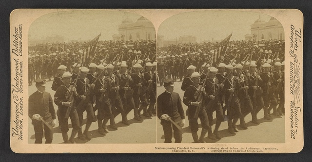 Marines passing President Roosevelt's reviewing stand before the auditorium, Exposition, Charleston, S.C.