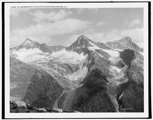 Mt. Avalanche with Eagle and Uto Peaks, Selkirk Mts., B.C.