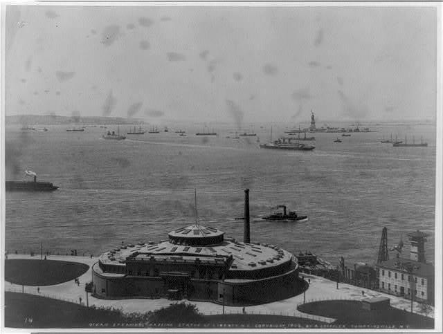 Ocean steamers passing Statue of Liberty, N.Y.