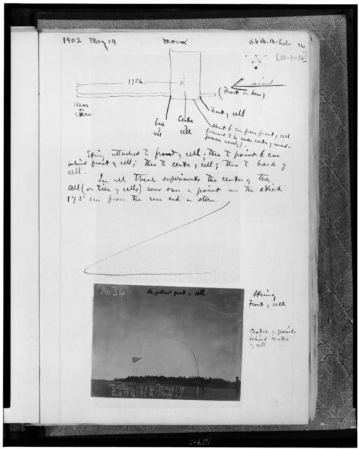 [Page from album of flight experiments at Baddeck, Nova Scotia with sketch of kite, annotated with text; and photograph of kite in flight]