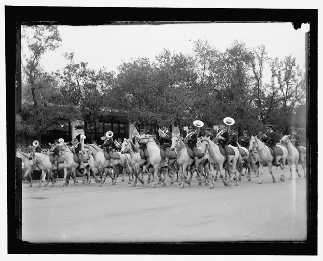 Part of the military parade first day. The mounted band of the 2nd U.S. Cav[alry]