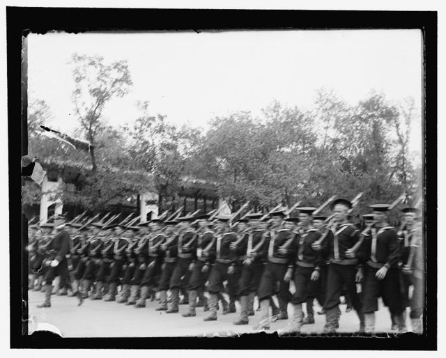 Part of the military parade of first day. Battln. of seamen from the Hartford, Topeka, Lancaster and Mayflower