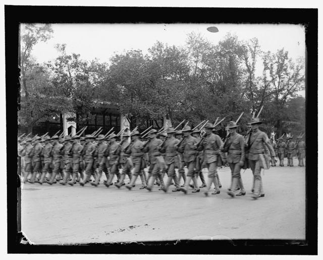Part of the military parade of first day. The U.S. Marine Corps in khaki uniforms