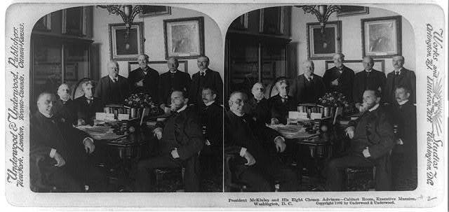 Pres. McKinley and his eight chosen advisors - Cabinet Room, Executive Mansion, Washington, D.C.
