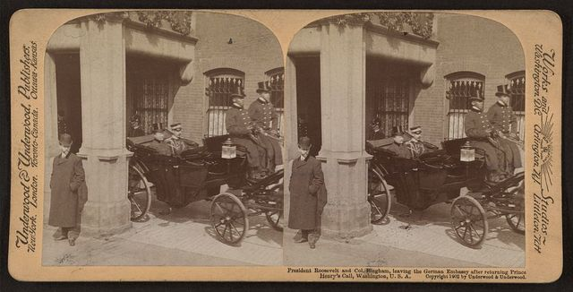 President Roosevelt and Col. Bingham, leaving the German Embassy after returning Prince Henry's call, Washington, U.S.A.