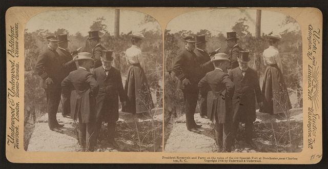 President Roosevelt and party on the ruins of the old spanish fort at Dorchester, near Charleston, S.C.