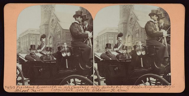President Roosevelt in his carriage after dedication of Philadelphia High School