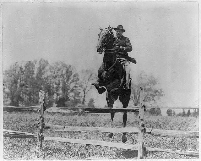 [President Roosevelt on horseback jumping over a split rail fence]