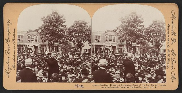 President Roosevelt presenting some of his forcible arguments to an enthusiastic crowd at Noblesville, Ind., U.S.A.