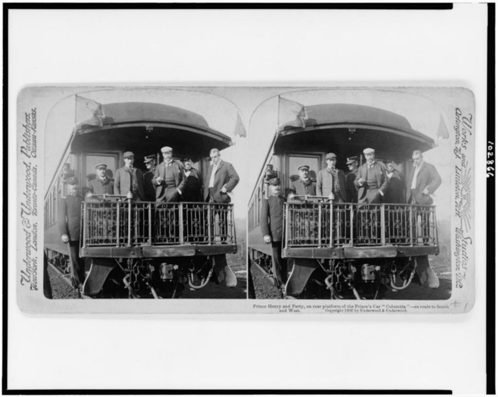 "Prince Henry and party, on rear platform of the Prince's car ""Columbia""--en route to South and West"