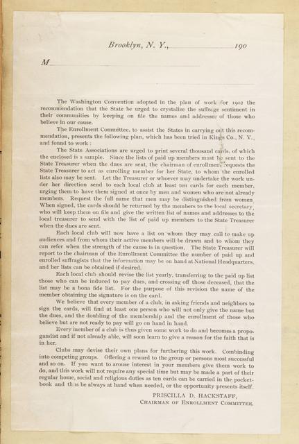 Priscilla D. Hackstaff, Enrollments Committee Chairman, National American Woman Suffrage Association Circular