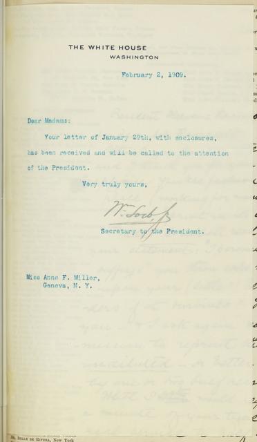 Secretary to the President, William Loeb, Jr., to Anne Fitzhugh Miller
