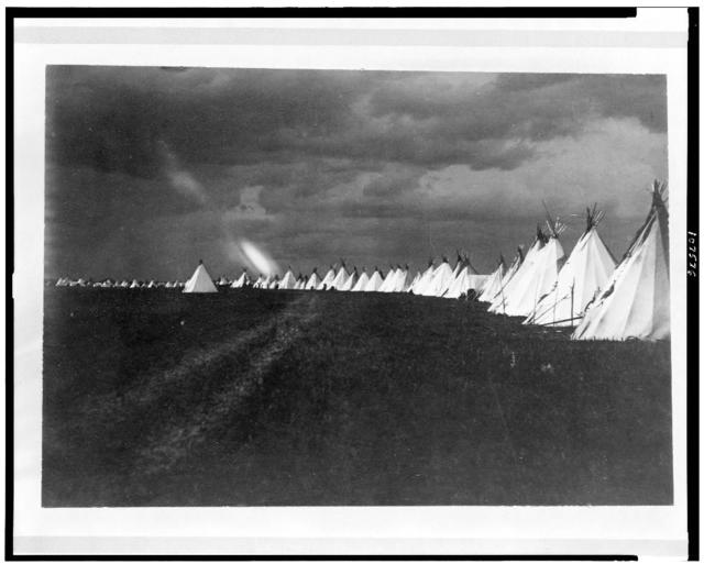 [Sioux (?) tepees in a line, North or South Dakota (?), during lightning storm] / F.B. Fiske, Fort Yates, N. Dak.