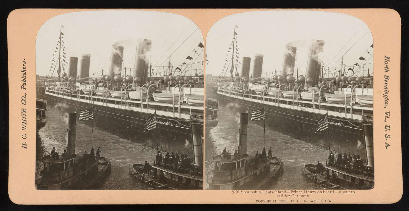 Steamship Deutschland -- Prince Henry on board,--about to sail for Germany