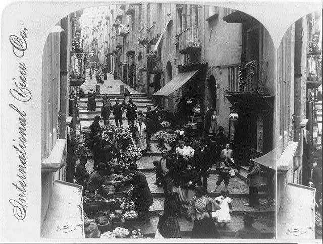 Street of steps (Gradoni de Chioja), and the flower sellers, Naples, Italy