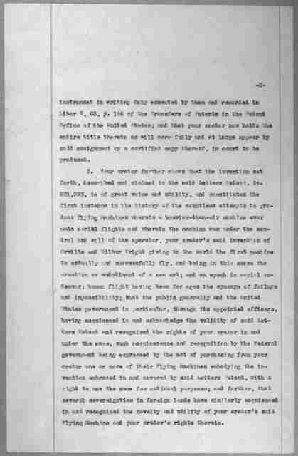 Subject File:  Legal Cases--Wright Co. v. Curtiss Aeroplane Co.--Miscellany, 1902-1914