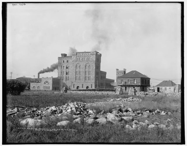 Sulphite paper mill and old block house, Sault Ste. Marie, Ont.