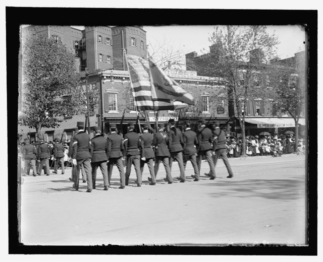 The 1st Regt. Sons of Veterans of Phila. Pa. making the wheel into 18th St. from Pa. Ave.